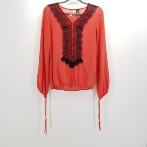 BKE Pink with Black Lace Neck Detailed Blouse